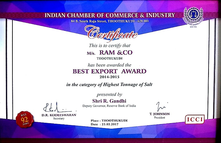 Best Export Award, Tuticorin
